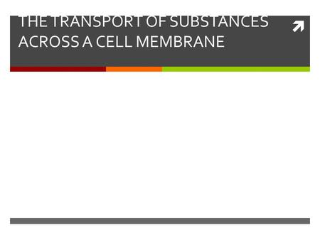  THE TRANSPORT OF SUBSTANCES ACROSS A CELL MEMBRANE.
