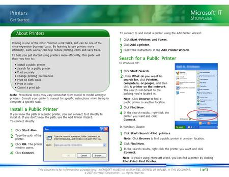1 of 3 This document is for informational purposes only. MICROSOFT MAKES NO WARRANTIES, EXPRESS OR IMPLIED, IN THIS DOCUMENT. © 2007 Microsoft Corporation.
