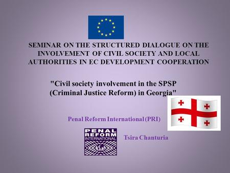 SEMINAR ON THE STRUCTURED DIALOGUE ON THE INVOLVEMENT OF CIVIL SOCIETY AND LOCAL AUTHORITIES IN EC DEVELOPMENT COOPERATION Penal Reform International (PRI)