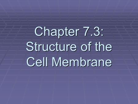 Chapter 7.3: Structure of the Cell Membrane.  How is a colander (sifter) similar to a cell membrane? Read on to find out.  1. What are some things that.