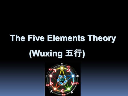 The Five Elements Theory (Wuxing 五行 ) (Wuxing 五行 )