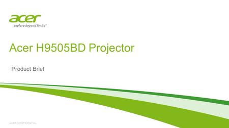 Acer H9505BD Projector Product Brief.