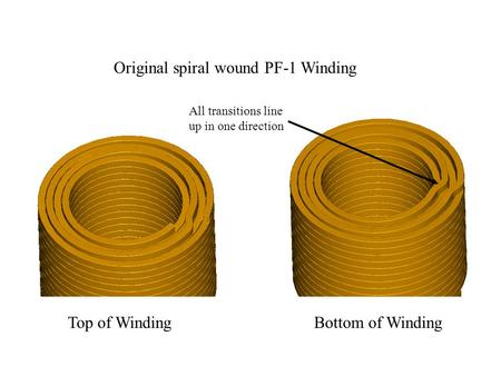 Top of WindingBottom of Winding Original spiral wound PF-1 Winding All transitions line up in one direction.