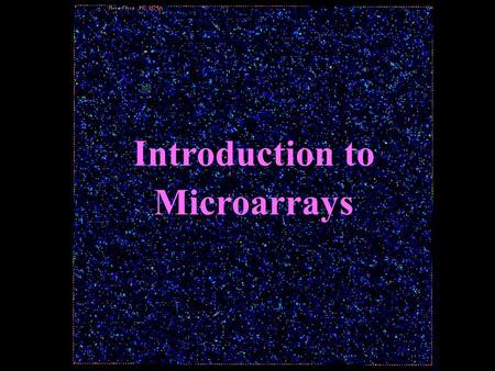 Introduction to Microarrays. The Central Dogma.