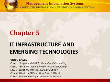 Management Information Systems MANAGING THE DIGITAL FIRM, 12 TH EDITION GLOBAL EDITION IT INFRASTRUCTURE AND EMERGING TECHNOLOGIES Chapter 5 VIDEO CASES.