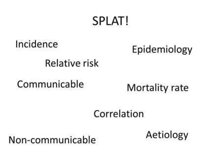SPLAT! Incidence Mortality rate Correlation Communicable Non-communicable Epidemiology Aetiology Relative risk.