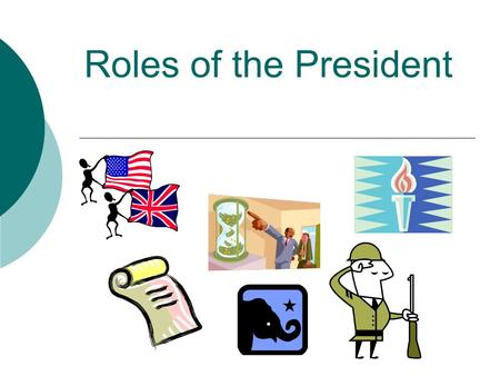 Roles of the President. Chief of State/Citizen  To represent the U.S. at public events.  Mainly a ceremonial role that allows the President to promote/