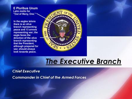 Chief Executive Commander in Chief of the Armed Forces The Executive Branch.