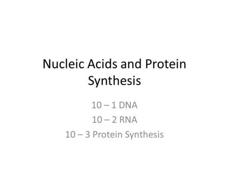 Nucleic Acids and Protein Synthesis 10 – 1 DNA 10 – 2 RNA 10 – 3 Protein Synthesis.
