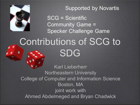Contributions of SCG to SDG Karl Lieberherr Northeastern University College of Computer and Information Science Boston, MA joint work with Ahmed Abdelmeged.