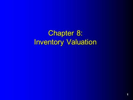 1 Chapter 8: Inventory Valuation. 2 The Inventory Formula Used to calculate Cost of Goods Sold (COGS) for the Income Statement and Ending Inventory (EI)