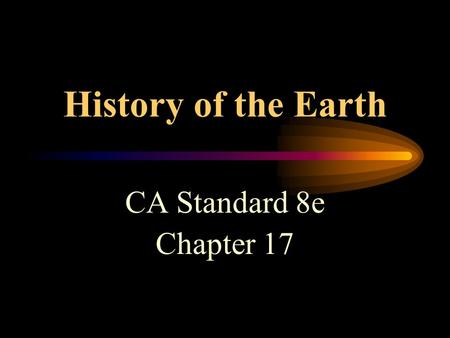 History of the Earth CA Standard 8e Chapter 17 17-1 The Age of the Earth Earth's age is estimated at 4.6 billion years. James Hutton in 1788- proposed.