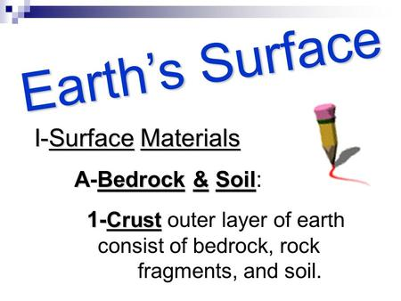 E a r t h ' s S u r f a c e I-Surface I-Surface Materials ABedrock A-Bedrock && && Soil Soil: 1- Crust 1- Crust outer layer of earth consist of bedrock,