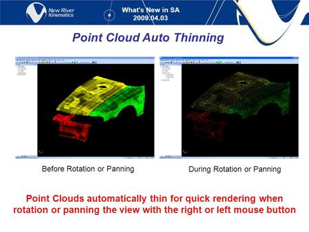 What's New in SA 2009.04.03 Point Cloud Auto Thinning Point Clouds automatically thin for quick rendering when rotation or panning the view with the right.
