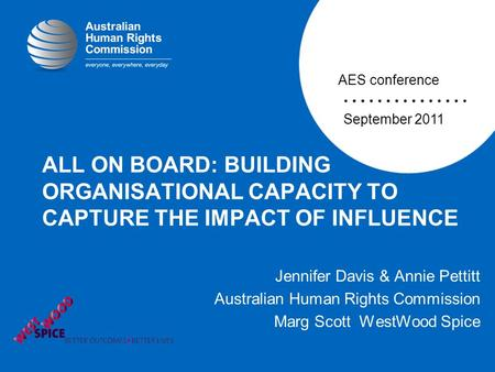 ALL ON BOARD: BUILDING ORGANISATIONAL CAPACITY TO CAPTURE THE IMPACT OF INFLUENCE Jennifer Davis & Annie Pettitt Australian Human Rights Commission Marg.