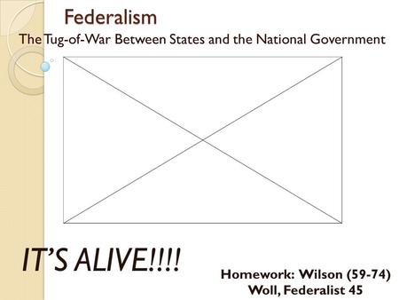 Federalism The Tug-of-War Between States and the National Government IT'S ALIVE!!!! Homework: Wilson (59-74) Woll, Federalist 45.