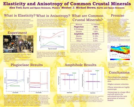 Elasticity and Anisotropy of Common Crustal Minerals Alex Teel; Earth and Space Sciences, Physics Mentor: J. Michael Brown; Earth and Space Sciences What.