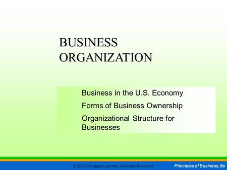 © 2012 Cengage Learning. All Rights Reserved. Principles of Business, 8e C H A P T E R 5 SLIDE 1 Business in the U.S. Economy Forms of Business Ownership.
