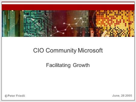 © Peter Friedli, 2005 N EW V ENTURETEC June 28, 2005 CIO Community Microsoft Facilitating Growth c Peter Friedli June, 28 2005.