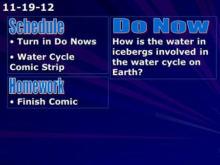 Turn in Do Nows Turn in Do Nows Water Cycle Comic Strip Water Cycle Comic Strip How is the water in icebergs involved in the water cycle on Earth? Finish.