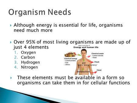  Although energy is essential for life, organisms need much more  Over 95% of most living organisms are made up of just 4 elements 1.Oxygen 2.Carbon.