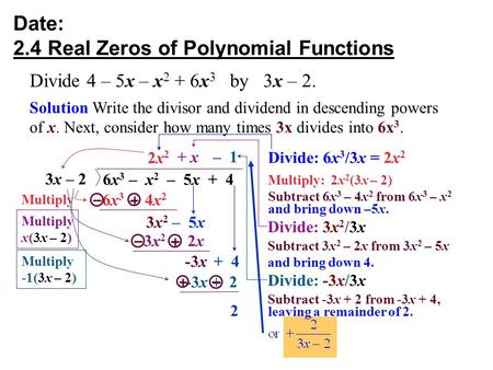 Date: 2.4 Real Zeros of Polynomial Functions