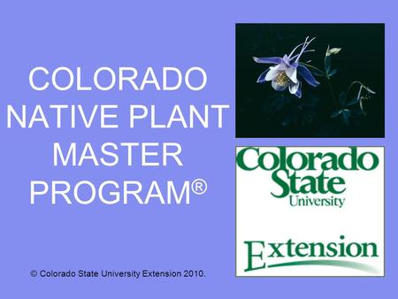 COLORADO NATIVE PLANT MASTER PROGRAM ® © Colorado State University Extension 2010.