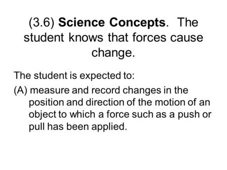 (3.6) Science Concepts. The student knows that forces cause change. The student is expected to: (A) measure and record changes in the position and direction.