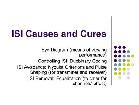 ISI Causes and Cures Eye Diagram (means of viewing performance) Controlling ISI: Duobinary Coding ISI Avoidance: Nyquist Criterions and Pulse Shaping (for.