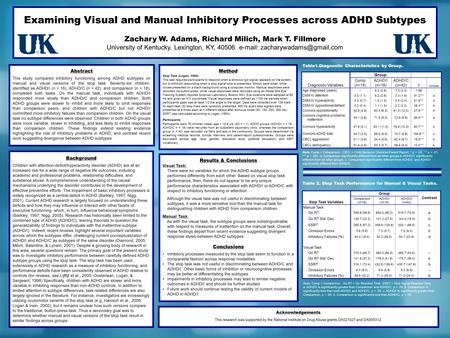 Examining Visual and Manual Inhibitory Processes across ADHD Subtypes Zachary W. Adams, Richard Milich, Mark T. Fillmore University of Kentucky, Lexington,