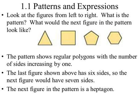 1.1 Patterns and Expressions