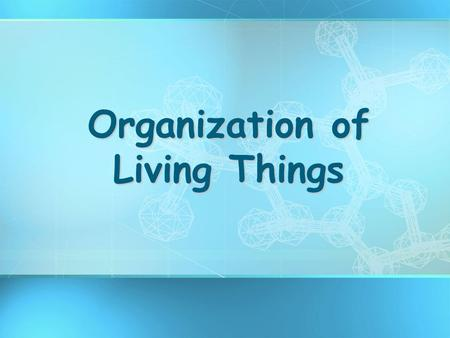 Organization of Living Things. What Are the Main Characteristics of organisms? 1.Made of CELLS 2.Require ENERGY (food) 3.REPRODUCE 4.RESPOND to stimuli.