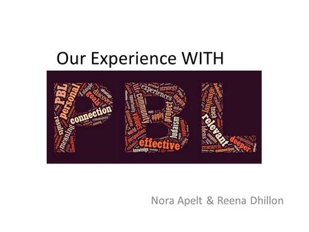 Our Experience WITH Nora Apelt & Reena Dhillon. Our Journey Met at the PBL workshops hosted by C.O.R.E PBL World Conference in Napa, California Began.