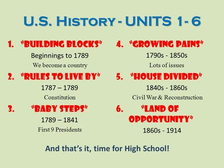 "U.S. History - UNITS 1- 6 ""BUILDING BLOCKS"" ""RULES TO LIVE BY"""