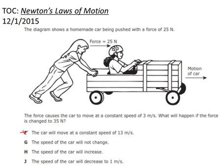 TOC: Newton's Laws of Motion 12/1/2015. Set up your foldable like this!!!!