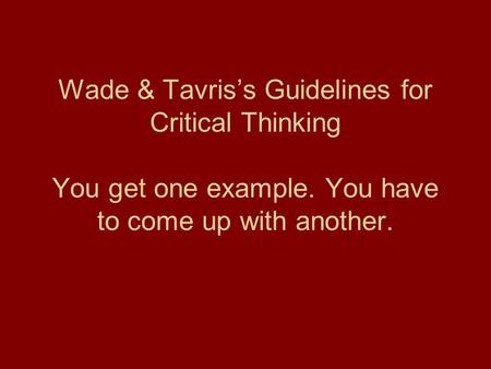8 Basic Guidelines to Critical Thinking in Psychology - PowerPoint PPT Presentation