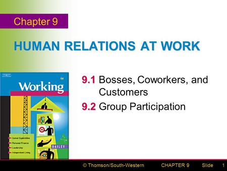 © Thomson/South-WesternSlideCHAPTER 91 HUMAN RELATIONS AT WORK 9.1 9.1Bosses, Coworkers, and Customers 9.2 9.2Group Participation Chapter 9.