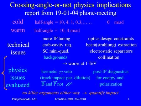 Philip Bambade - LALLCWS04 - MDI 20/4/20041 Crossing-angle-or-not physics implications report from 19-01-04 phone-meeting cold half-angle = 10, 4, 1, 0.3,……