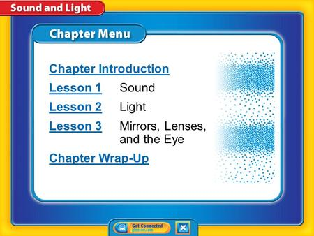 Chapter Menu Chapter Introduction Lesson 1Lesson 1Sound Lesson 2Lesson 2Light Lesson 3Lesson 3Mirrors, Lenses, and the Eye Chapter Wrap-Up.