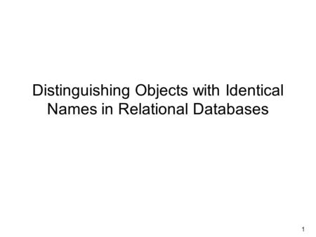 1 Distinguishing Objects with Identical Names in Relational Databases.