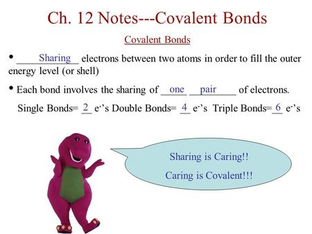 Ch. 12 Notes---Covalent Bonds Covalent Bonds ____________ electrons between two atoms in order to fill the outer energy level (or shell) Each bond involves.