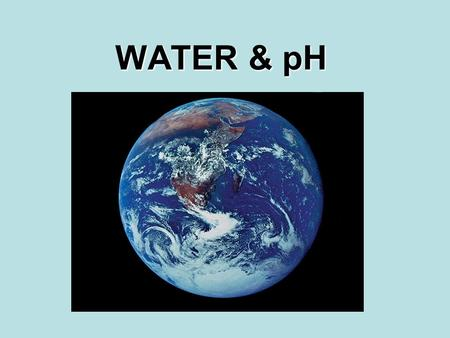 WATER & pH. Fun Facts 50-95% of weight of living things Only common substance that exists in solid, liquid and gas forms If earth was smooth, depth of.