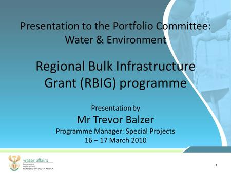 1 Presentation to the Portfolio Committee: Water & Environment Presentation by Mr Trevor Balzer Programme Manager: Special Projects 16 – 17 March 2010.