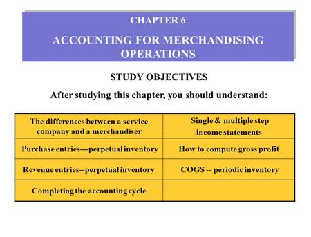 STUDY OBJECTIVES After studying this chapter, you should understand: CHAPTER 6 ACCOUNTING FOR MERCHANDISING OPERATIONS CHAPTER 6 ACCOUNTING FOR MERCHANDISING.