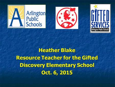 Heather Blake Resource Teacher for the Gifted Discovery Elementary School Oct. 6, 2015.