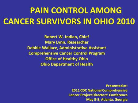 PAIN CONTROL AMONG CANCER SURVIVORS IN OHIO 2010 Robert W. Indian, Chief Mary Lynn, Researcher Debbie Wallace, Administrative Assistant Comprehensive Cancer.
