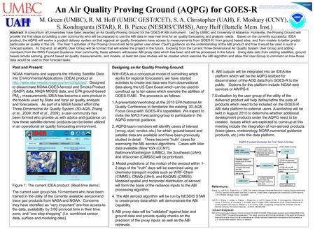 An Air Quality Proving Ground (AQPG) for GOES-R 6. ABI outputs will be integrated into an IDEA-like platform which will be the AQPG testbed for dissemination.