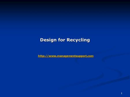 1 Design for Recycling