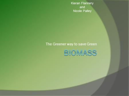The Greener way to save Green Kieran Flannery and Nicole Palley.