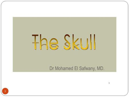 The Skull Dr Mohamed El Safwany, MD. 1.